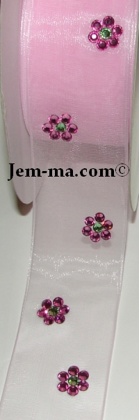 Ribbon with Crystal Flowers
