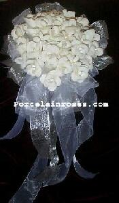 White Wedding Flowers #19 with Silver Ribbons