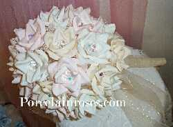 Pink, Ivory and White Rose Bouquet