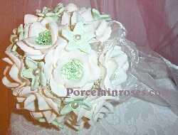 White Rose BOuquet with light green crystals