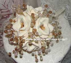 Porcelain Roses with Crystal Stems