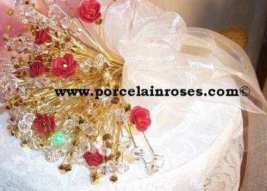 Red & Gold Rose & Crystal bouquet
