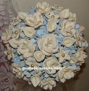 Light Blue & Ivory Wedding Bouquet