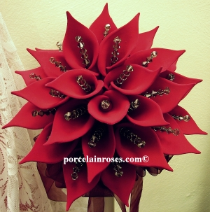 Dark Red Calla Liliy wedding bouquet